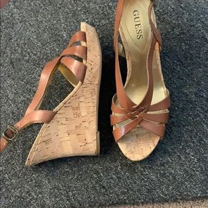 New: Guess tan cork and leather wedges